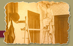 ... Vintage photo of wallpaper hanger
